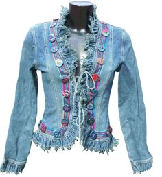 Redesigned, embellished jean jacket. Buttons are cute