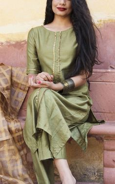Olive Green Straight Kurta With Full Gota Sharara Suit Set Of 3 Salwar Designs, Kurta Designs Women, Kurti Designs Party Wear, Long Kurta Designs, Neck Designs For Suits, Dress Neck Designs, Designs For Dresses, Blouse Designs, Designer Kurtis
