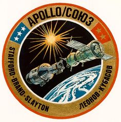 Shop The Apollo–Soyuz Test Project (ASTP) Postcard created by NASA_and_Beyond. Apollo Spacecraft, Soyuz Spacecraft, Nasa Missions, Apollo Missions, Badges, Space Patch, Nasa Patch, Apollo Space Program, Space And Astronomy