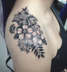 Did this shoulder tattoo on Hollie today, love it! #tattoo #tattoos #tattooed #tattooart #shoulder #shouldertattoo #drawing #draw #art #artwork #artist #tattooartist #wildflowers #wildflowertattoo #blackandgrey #yeg #yegtattoo #blackgoldtattooco