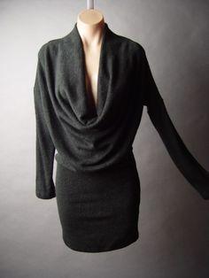Black Drape Slouch Cowl Neck Minimalist Long Sleeve Women Jumper Sweater Dress M   eBay