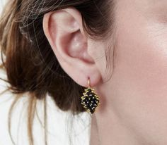 Gold filigree earrings with Spinels loredanamandas.com