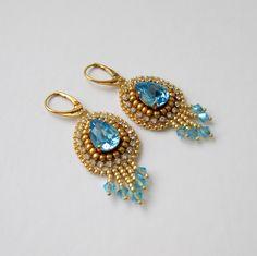 Aquamarine swarovski Beading, Swarovski, Earrings, Jewelry, Design, Fashion, Ear Rings, Moda, Beads
