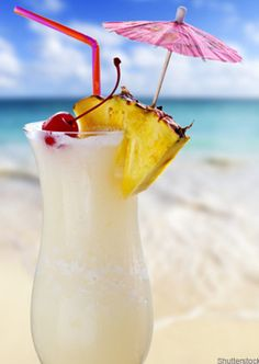 Caribbean Pina Colada Ingredients:  30ml white rum 30ml coconut milk 90ml pineapple juice 3 fresh pineapple wedges 4-5 cubes of crushed ice