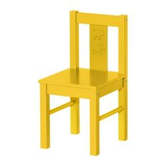 """Blue, red, white too, $12 KRITTER Children's chair - yellow - IKEA  Depth: 11 3/8  Seat width: 10 5/8  Seat depth: 11 3/8  Width: 10 5/8 """""""