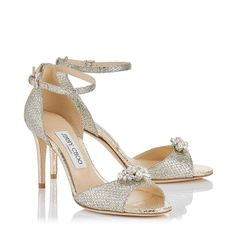 Tori 85 Sandals in Champagne Glitter Fabric with Jewelled Clip. Discover our Cruise 17 Collection and shop the latest trends today. Off White Shoes, White Sandals, Shoes Sandals, Bridal Shoes, Wedding Shoes, Champagne Shoes, Glitter Sandals, Jeweled Sandals, Glitter Fabric