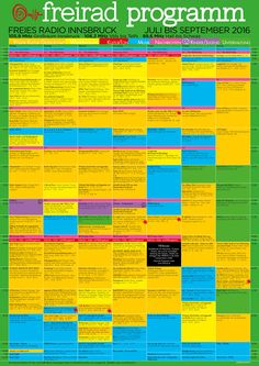 Das Programm des Freien Radios Innsbruck 2016. Innsbruck, Radios, Periodic Table, Chart, Old Stuff, Concept, Young Adults, Messages, Things To Do