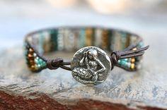 Ocean Jasper Gemstone Crystal Beaded Sterling Silver Mermaid