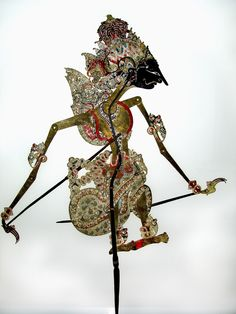 OLD WAYANG CULT-FIGURE: KRISHNA  Buffalo leather, horn  Indonesia  19th/20th cent.