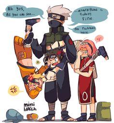 Naruto ~~ The good old days. :: Kakashi, Naruto, Sasuke, Sakura