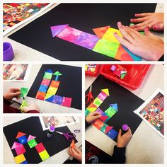 Using painted paper shapes to create castle's inspired by Klee #paintedpaper #arteducation #firstgradeart #shapes