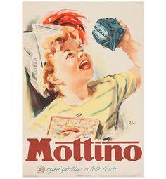 Manifesto pubblicitario Panettone Mottino, Mario Rossi - advertisement poster