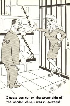 A. S. HABBICK - I guess you got on the wrong side of the warden while I was in isolation! - pin by Karla Elaine The Warden, Bill Ward, Tg Captions, Vintage Cartoon, Comic Artist, Cartoons, Comics, Cartoon, Cartoon Movies