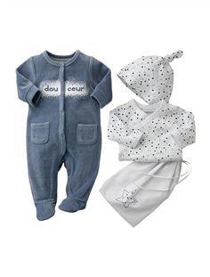 Kit naissance 3 pièces et sac bébé ROSE VIF+BLANC+GRIS CLAIR+LAVANDE GRISE - vertbaudet enfant