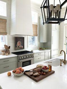 A Beautiful Home Tour in Watercolor, FL Designed by Maison Studios - Cottage and Vine Cabin Kitchens, Cottage Kitchens, Kitchen Flooring, Kitchen Dining, Dining Rooms, Watercolor Fl, Grey Wall Color, Studio Interior, Interior Design
