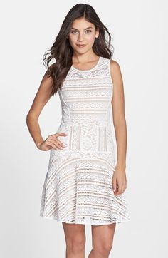 BCBGMAXAZRIA 'Jalina' Knit Lace Fit & Flare Dress available at #Nordstrom