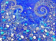 "INTIMATE REFLECTIONS 8 11.812 x 15.75""  /  30 x 40 cm Acrylic, pastes, shells, powders, glitters, swarovski crystals on canvas"