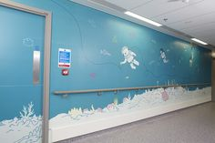 Artwork to calm and distract children on their route to surgery in the new Royal London Children's Hospital Clinic Design, Healthcare Design, Interactive Walls, School Murals, Graffiti Designs, Kids Inspire, Hospital Design, Childrens Hospital, Kids Hospital