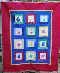 Handprint Quilt - made using kids' handprints from my daughter's preschool class for the school's director on her retirement. Preschool Auction Projects, Preschool Class, Preschool Ideas, Craft Ideas, Teacher Retirement Gifts, Teacher Gifts, Hand Quilting, Machine Quilting, Kids Artwork