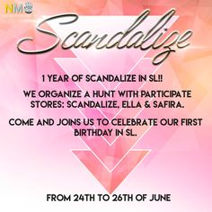 Scandalize Birthday Hunt No Group Freebies Scandalize is celebrating its 1 year anniversary. The celebration is from June 24th to 26th. Visit the sim and [...]