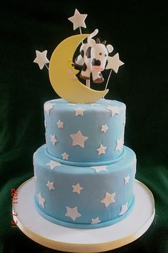 Too cute! Cow/Moon Baby Shower Cake by valscustomcakes, via Flickr