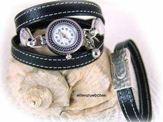 Set women wrap watch and bracelet leather black  by elfenstuebchen