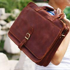 """Vintage Handmade Crazy Horse Leather Briefcase, Messenger, 14"""" Laptop or 15"""" MacBook Pro Bag in Old Reddish Brown"""