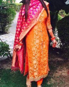 Orange magenta Trandy Stylish Festival Party wear Punjabi SALWAR  EDH suit #Handmade #Designersuit