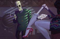 "Grim Fandango Illustration by Rustam Hasanov - Part of the ""8-Bit & Beyond 2"" art show"