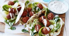 Chunky almond pieces add extra crunch to these deliciously easy falafels served on lightly charred wraps with gem lettuce, spring onion and yoghurt. Recipe by Curtis Stone. Veggie Recipes, Vegetarian Recipes, Dinner Recipes, Free Recipes, Falafel Recipe, Veggie Dinner, Main Meals, Healthy Cooking, Food Inspiration