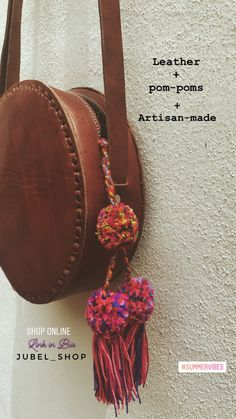 "Round leather purse bag, crossbody round bag handamade circle bag 9"" x 9"" x 2.6"" | eBay Welcome wholesale orders| Enquiries: jubelshop@outlook.com #bohobag #hippiebag #handmade #bohemian #tulum #ibiza #leatherbag #handmadebag #pompom #tassel #gifting #artisanmade #bohochic #roundbag"
