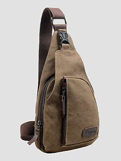 niceEshopTM Canvas Mens Satchel Shoulder Bag Chest Pack Crossbody Sports BagCoffee *** This is an Amazon Affiliate link. Read more reviews of the product by visiting the link on the image.