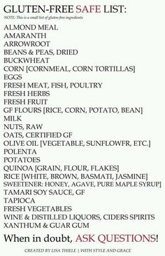 Gluten free list, helpful For school snack