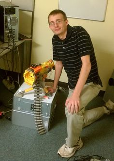 One of our programmers, Dave, and his working automatic Nerf gun!