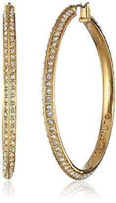 Vince Camuto Gold and Crystal Hoop Earrings  http://stylexotic.com/vince-camuto-gold-and-crystal-hoop-earrings/