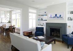 Feldman Architecture modern living room. Ideas for storage around fireplaces