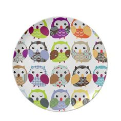 Colorful Owls Plate