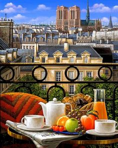 """Breakfast on the Balcony"" ~ by Liudmila Kondokova ~ Painting You With Words"