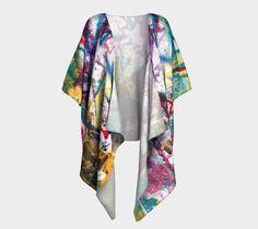 Kimono, draped kimono, robe, cardigan, boho print kimono, knit fair wear, gifts for her, wearable art, bohemian boho jacket cover up shrug #etsy