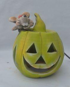 Lámpara calabaza con ratón - Artesanía ALLA
