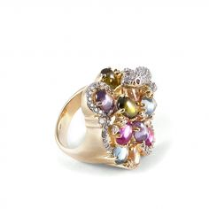 Animal with cabochon stones ring EDITORS' NOTES  The color is an exceptional ingredient with which we customize our creations ... Special ring crafted from colored cabochon zircons, and a sparkling white cubic zirconia pavè, set on a gold plated silver frame. It will bring a touch of color to your look.  http://www.ultimaedizione.com/shop/en/rings/318-animal-with-cabochon-stones-ring.html