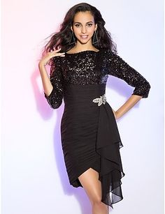 Cocktail Party/Homecoming Dress - Black Plus Sizes Sheath/Column Bateau Short/Mini/Asymmetrical Chiffon/Sequined – USD $ 109.99