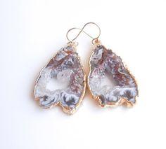 Geode Earrings in Gold- Raw Rock Druzy Earrings - Similar Earrings were Featured in an Etsy Newsletter https://www.etsy.com/listing/122202791/geode-earrings-in-gold-raw-rock-druzy?ref=shop_home_active_1 #geode #earrings #druzyearrings #drusy #rawrock #awesome #etsy