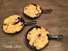 "Skillet Blackberry Cobbler: ""From my mother-in-law, this is the best blackberry cobbler I've ever had. Don't make it in anything but a big black skillet~it won't turn out the same!"" Ingredients 1 box of 2 refrigerated pie crusts (I prefer Pillsbury) 2 (14-16 oz) bags frozen blackberries, unthawed 1 stick butter, melted 1⅓ cups sugar (for berries) ½ cup flour ¾ cup sugar (for crust) ½ stick butter, cut into small cubes ½ cup water Instructions Heat oven to 350 degrees."
