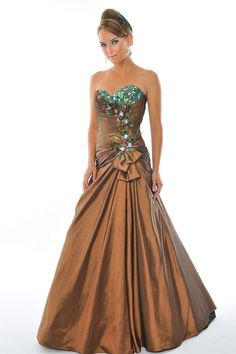 Luxurious A-line Sweetheart Rhinestone Feather Ruched Taffeta Long Prom Dresses Under 200 Sale Prom Dresses Under 200, Homecoming Dresses, Teen Dresses, Wedding Dresses, Formal Gowns, Strapless Dress Formal, Formal Prom, Copper Dress, Looks Dark