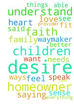 Lord my desire is to be a homeowner. I - Lord my desire is to be a homeowner. I would love a safe place for my children. Lord my God I want my family to feel a sense of security whenever they enter through the door. I know that you are a provider and a waymaker and with you all things are possible. I understand to keep faith and wait until you see fit to move. My faith is getting stronger each day I walk with thee. Lift me up O God Help me better understand my children and be able to…