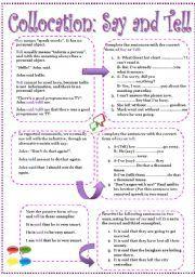 speak talk say tell exercises pdf