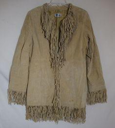 Vintage B Lucid Fringe Suede Jacket Rocker 70s BOHO CHIC Western Women Large #BLucid