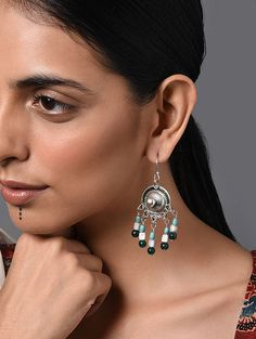 Buy The Stone Age Parampara Elevate your look with spectacular silver-tone stone-beaded jewelry for over-the-top statement Online at Jaypore.com Stone Earrings, Stone Jewelry, Beaded Jewelry, Drop Earrings, Silver Earrings Online, Shopping Coupons, Backpack Brands, Stone Age, Green Turquoise