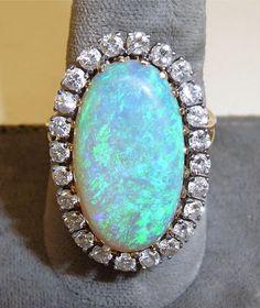 Superb 14k Black Opal & Diamond Ring
